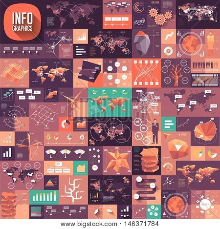 Set Of Infographics Flat Design Elements