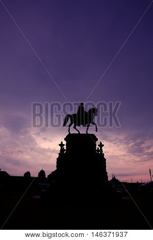 Monument to King John of Saxony in the night sky