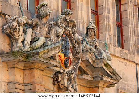 Sculpture on a facade of the museum of Nuremberg Germany