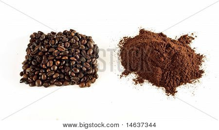Coffee Grains And Coffee Powder