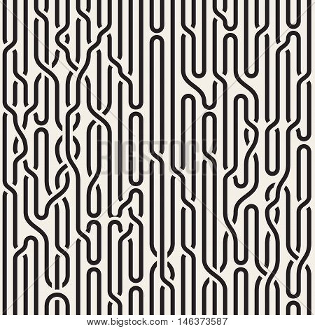 Vector Seamless Black and White Irregular Vertical Braid Lines Pattern. Abstract Geometric Background Design