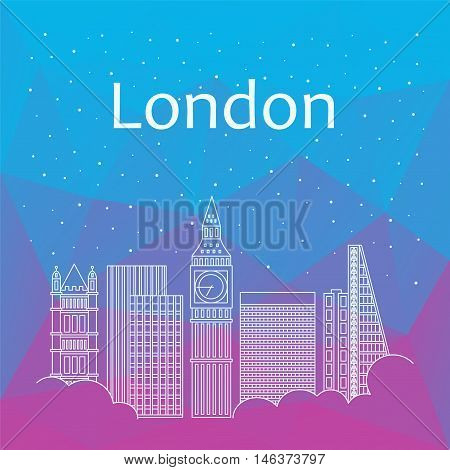 London for banner, poster, illustration, game, background. Vector background of London - snow is falling.