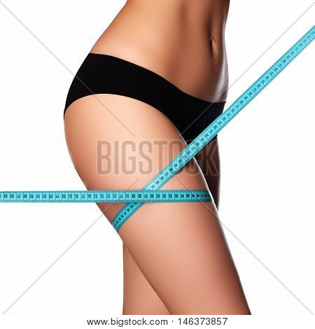 Woman Measuring Perfect Shape Of Beautiful Hips.healthy Lifestyl