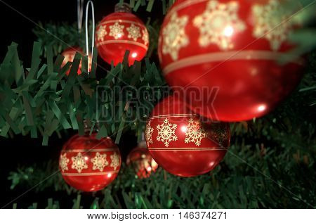 Christmas Baubels In A Tree