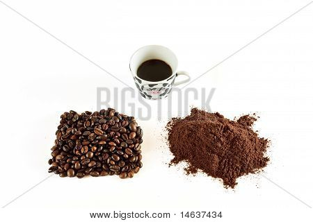 Coffee Grains And Coffee Powder And Coffee In A Cup