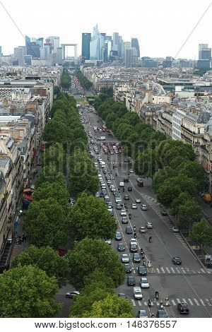 View of Le Defence form the Arch of Triumph. Le Defence is a; major business district of the Paris.