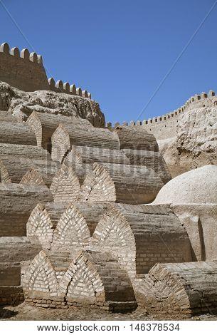 Medieval cemetery around the Pahlavon Mahmud Mausoleum in Khiva, Uzbekistan