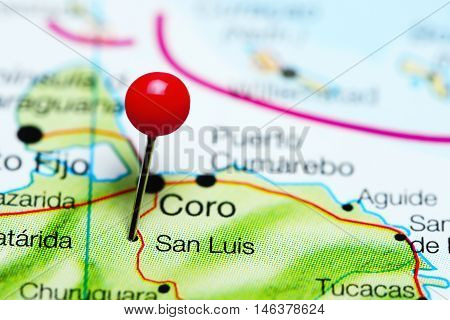 San Luis pinned on a map of Venezuela
