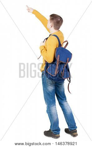 Back view of  pointing young men with backpack.  Young guy gesture. Rear view people collection.  backside view of person.  Isolated over white background.