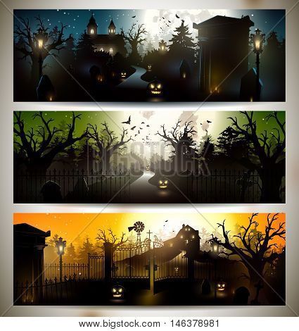 Set of three Halloween horizontal gloomy banners