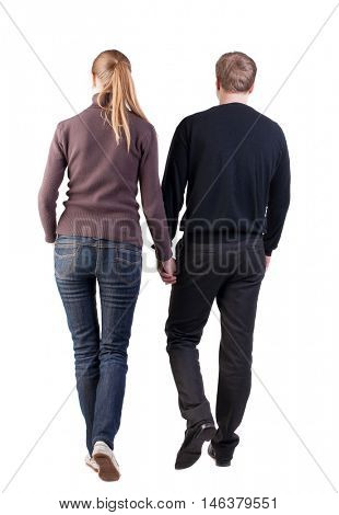 Back view of walking  young couple. going beautiful friendly girl and guy in shorts together. Rear view people collection.  backside view of person.  Isolated over white background. thoughtful couple