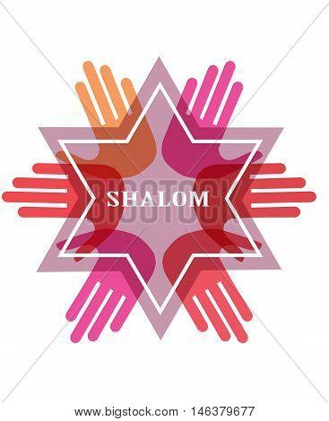Shalom, peace in Hebrew. Jew star symbol of Judaism religion , Israel. vector illustration