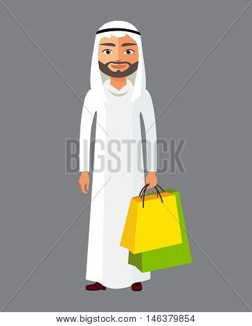 Arab business man with shopping bag. Vector cartoon illustration. Arabian man in the shop. Eps10. Isolated on a white background.