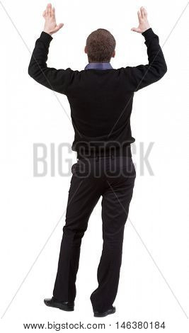 Back view of shocked business man . Upset adult businessman. Rear view people collection.  backside view of person.  Isolated over white background.