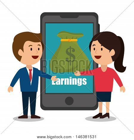 cartoon smartphone money earnings design isolated vector illustration eps 10
