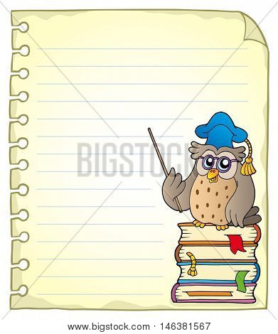 Notebook page with owl teacher 2 - eps10 vector illustration.