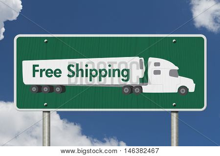 Free Shipping Road Sign A green Road Sign with text Free Shipping and a truck with sky background, 3D Illustration
