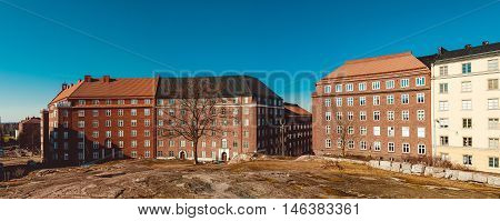 Panoramic view of the buildings and houses from the top of Temppeliaukio Church in Helsinki Finland.