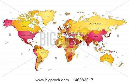 Multicolored world map in orange and yellow colors. Vector illustration.