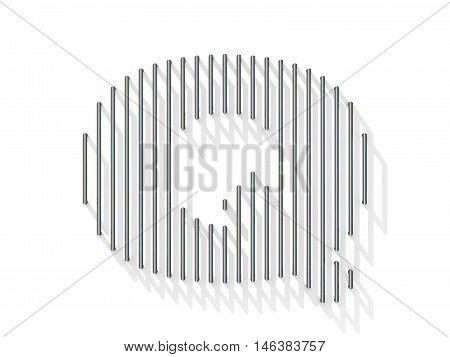 Silver, Steel Wire Font. Letter Q