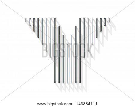 Silver, Steel Wire Font. Letter Y