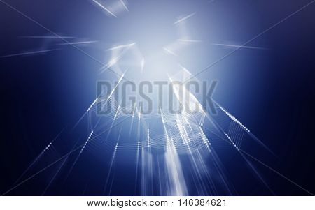 3D Abstract Blue Background with Fast Zoom Speed Space Low Poly Connecting Dots and Lines - Connection Structure - Futuristic HUD Background