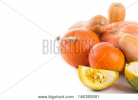 pumpkin on a white background. Left space for text
