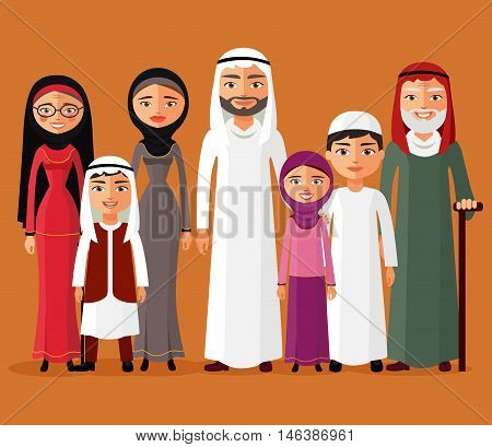 Arab family, muslim people, big family, saudi cartoon father, mother, daughter, son, grandpa, grandma. Vector illustration. Arab family together flat cartoon vector illustration. Eps10. Isolated on a white background.