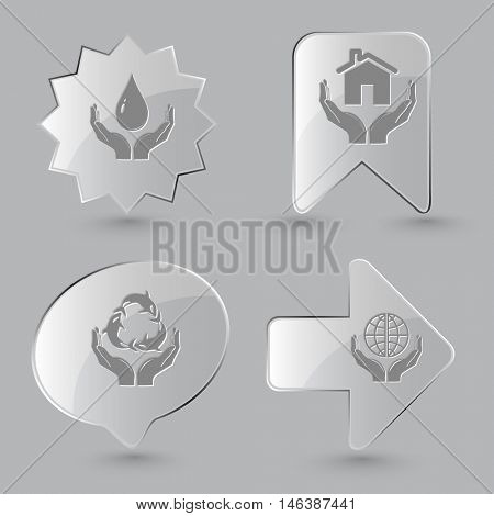 4 images: protection blood, home in hands, protection sea life, protection world. In hands set. Glass buttons on gray background. Vector icons.