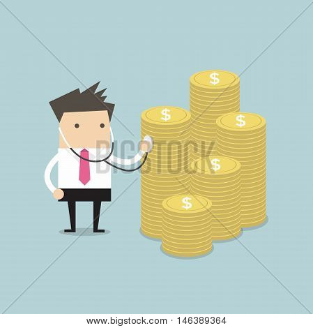 Businessman financial health check with stethoscope vector