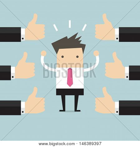 Businessman and many hands with thumbs up. Likes and positive feedback concept.