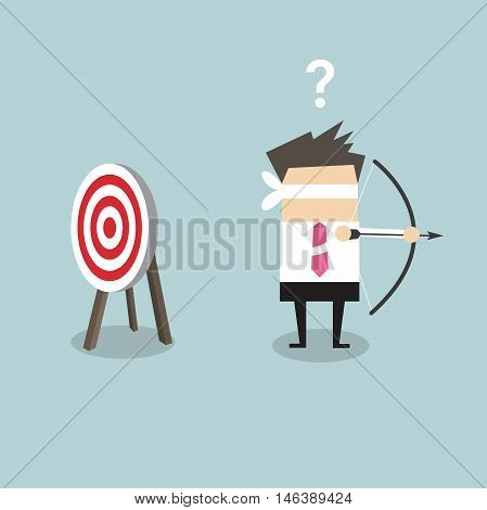 Blindfold businessman holding bow and arrow look for target in wrong direction vector