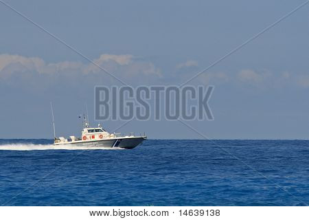 A Greek Coastguard ship around Lefkas island