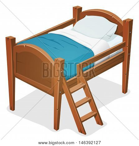 Illustration of a cartoon wooden children bed for boys and girls with pillows blue blanket and ladder