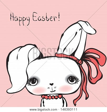 Cute rabbit girl portrait for happy Easter card