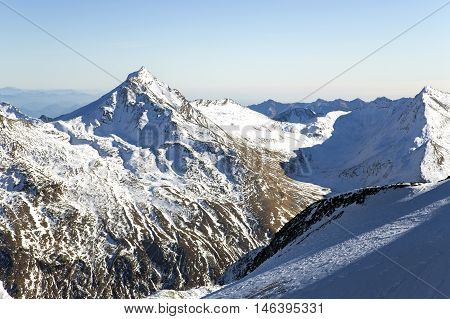 Swiss Alps: mountain of Taschhorn at height of 4491 meters, fantastic vistas of the Mischabel chains four-thousand metre peaks is the uncrowned queen of the Mischabel group. Switzerland.