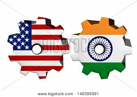 The United States of America and India working together Two cogwheels with a flag of the United Sta, 3D Illustrationtes and India isolated on white
