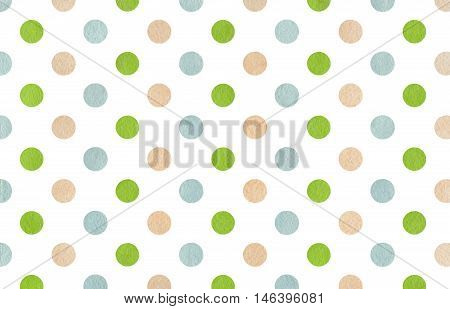 Watercolor Beige, Green And Blue Polka Dot Background.