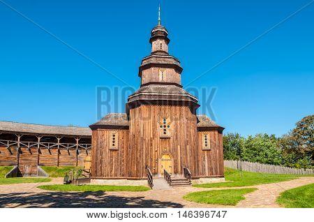 Rebuilt wooden church. In years 1669-1708 Baturyn Fortress was residence of three Ukrainian Hetmans: Demian Mnohohrishny Ivan Samoilovych and Ivan Mazepa. Baturyn Chernihiv Ukraine.