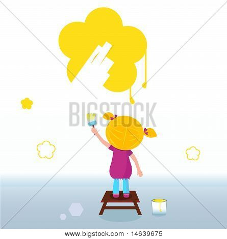 Little kid painting yellow spring Flower on the Wall