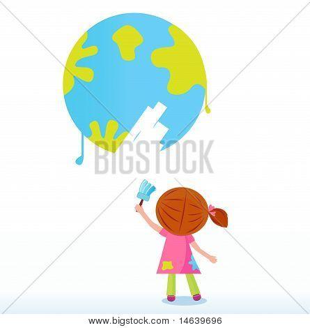 Little artist - child painting Earth ( planet, globe )