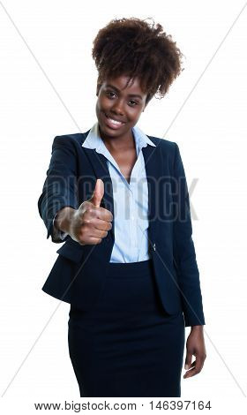 African american business woman showing thumb on an isolated white background for cut out
