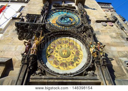 Detail of astronomical clock in Old Town Square, Prague, Czech Republic