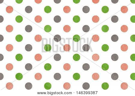 Watercolor Pink, Green And Grey Polka Dot Background.