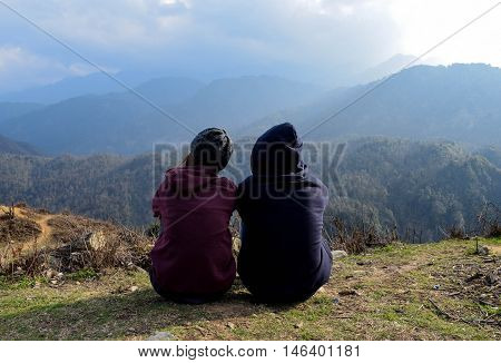 lovers backpacker on the mountain in the north vietnam