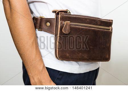 Men Wear Handmade Of Brown Genuine Leather Belt Bag