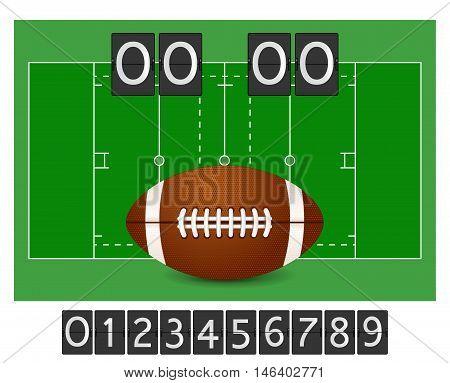 American football - ball field playground scoreboard. Vector illustration