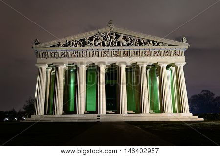 view of Parthenon replica at Centennial Park in Nashville, Tennessee at night