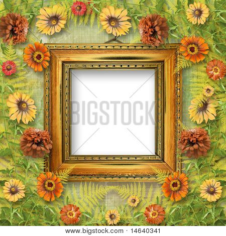 Grunge Frame For Interior With Bunch Of Flowers