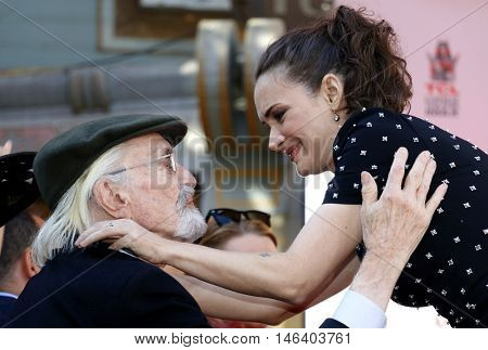 Winona Ryder and Martin Landau at the Tim Burton Hand And Footprint Ceremony held at the TCL Chinese Theater in Hollywood, USA on September 8, 2016.